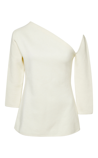 White merino wool cold shoulder sweater by ROSIE ASSOULIN Now Available on Moda Operandi