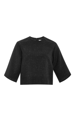 Black mohair wool cropped boxy top by ROSIE ASSOULIN Now Available on Moda Operandi