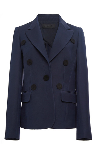 Single Breasted Silk Wool Crepe Jacket With Button Detail by DEREK LAM Now Available on Moda Operandi