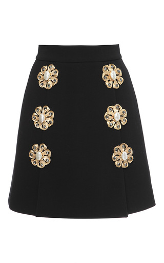 Wool blend crepe mini skirt with floral brooch embellishment by DOLCE & GABBANA Now Available on Moda Operandi