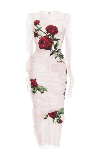 Ruched Tulle Rose Appliqué Sheath Dress by DOLCE & GABBANA Now Available on Moda Operandi