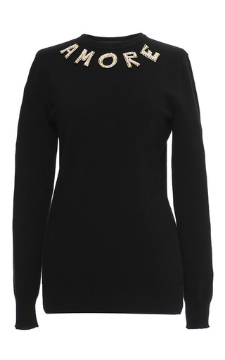 Black cashmere swarovski pearl amore sweater by DOLCE & GABBANA Now Available on Moda Operandi