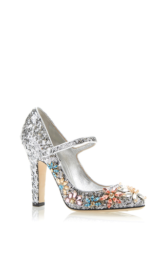 Silver sequined mary jane with swarovski flowers by DOLCE & GABBANA Now Available on Moda Operandi