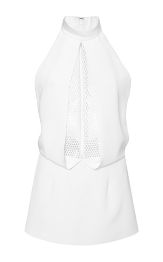 White crepe turtleneck top with mesh underlay by CUSHNIE ET OCHS Now Available on Moda Operandi