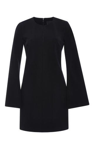 Navy viscose long sleeved mini dress by CUSHNIE ET OCHS Now Available on Moda Operandi