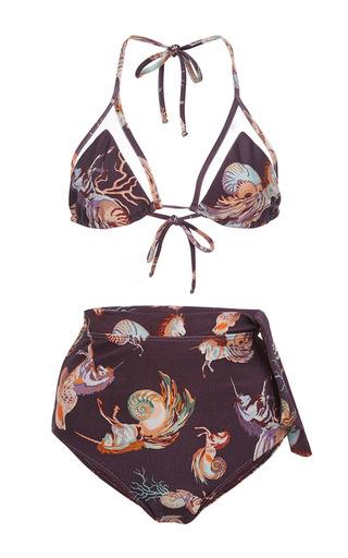 Unicorn print bikini set with high waisted briefs  by ADRIANA DEGREAS Now Available on Moda Operandi