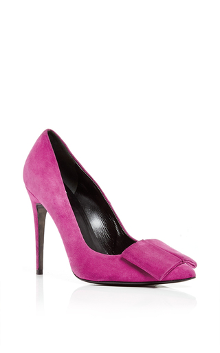 Pink suede obi pumps  by PIERRE HARDY Now Available on Moda Operandi