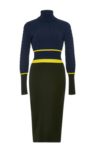 Navy and green virgin wool falo turtleneck dress by MARY KATRANTZOU Now Available on Moda Operandi