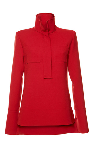 Red silk toile mock neck shirt by MARNI Now Available on Moda Operandi