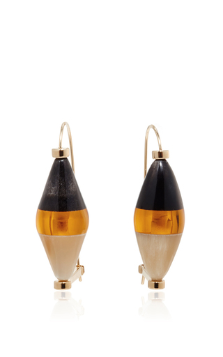 Colorblock horn drop earrings  by MARNI Now Available on Moda Operandi