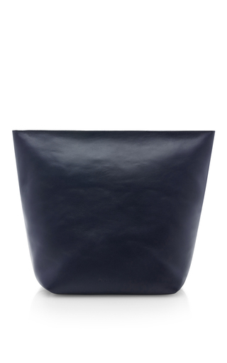Blue leather large pochette by MARNI Now Available on Moda Operandi