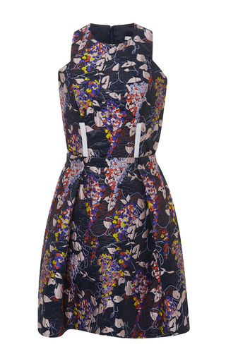 Floral jacquard sleeveless mini dress by CARVEN Now Available on Moda Operandi