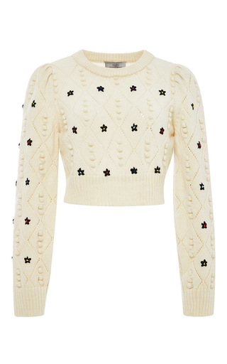 Ivory wool cropped embroidered sweater by PREEN BY THORNTON BREGAZZI Now Available on Moda Operandi