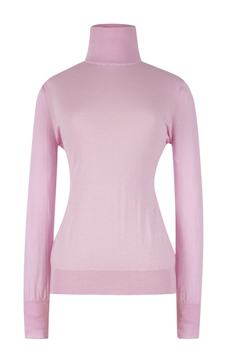 Pink wool long sleeved turtleneck knit by EMILIA WICKSTEAD Now Available on Moda Operandi