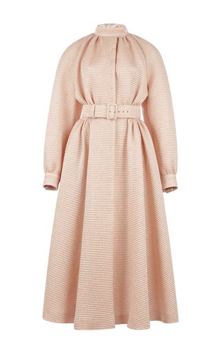 Wool silk jacquard poppins cinched coat dress  by EMILIA WICKSTEAD Now Available on Moda Operandi