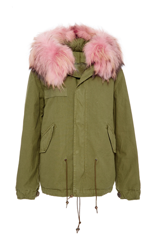 Khaki Down Parka With Pink Collar by MR & MRS ITALY Now Available on Moda Operandi