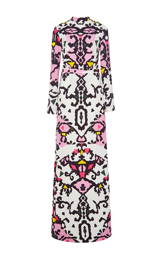 Long sleeved printed maxi dress  by MSGM Now Available on Moda Operandi