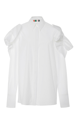 Crisp cotton poplin shirt with shoulder detail by MSGM Now Available on Moda Operandi