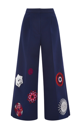 Navy cropped pleated pants with appliqué by MSGM Now Available on Moda Operandi
