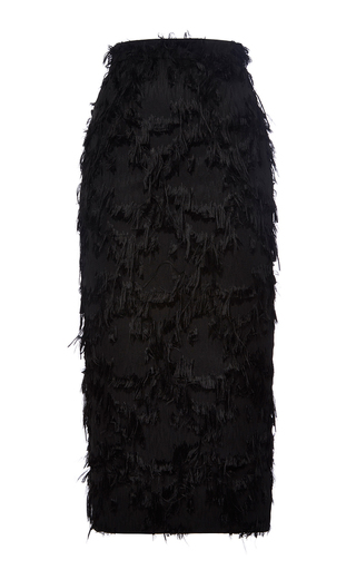 Black Mid Length Textured Pencil Skirt by MSGM Now Available on Moda Operandi