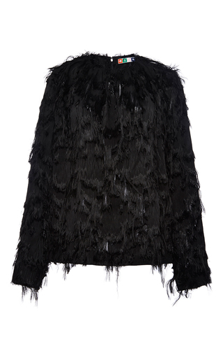 Black long sleeved textured top by MSGM Now Available on Moda Operandi