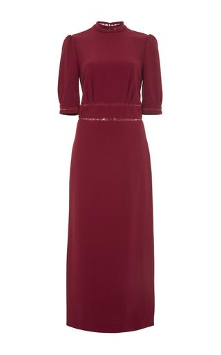 Red ida lace trim midi dress  by VILSHENKO Now Available on Moda Operandi