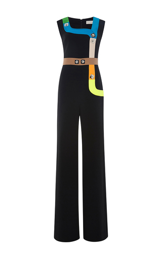 Black sleeveless neon track jumpsuit by PETER PILOTTO Now Available on Moda Operandi