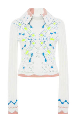 White Angora Wool Blend Collared Snowflake Pullover by PETER PILOTTO Now Available on Moda Operandi