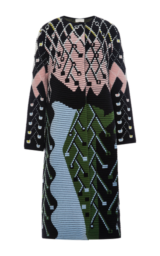 Wool Angora Multicolored Mid Length Coat by PETER PILOTTO Now Available on Moda Operandi