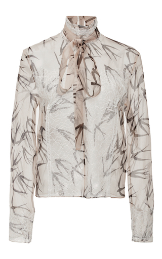 Silk Organza Swallow Printed Blouse  by ROCHAS Now Available on Moda Operandi