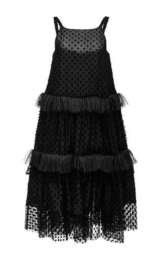 Silk Fringed Dress With Polka Dot Embroidery by ROCHAS Now Available on Moda Operandi