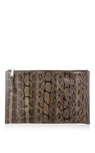 Green elaphe snakeskin zip pochette by ROCHAS Now Available on Moda Operandi
