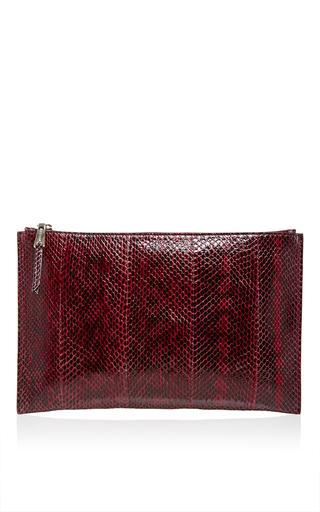 Red Snakeskin Elaphe Zip Pochette by ROCHAS Now Available on Moda Operandi