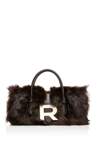 Black Shearling And Lamb Leather Bag by ROCHAS Now Available on Moda Operandi