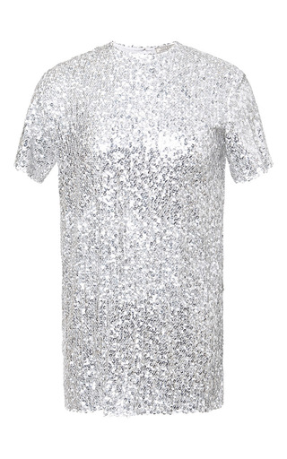 Silk blend short sleeved sequined top by NINA RICCI Now Available on Moda Operandi