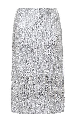 Silver silk blend jupe skirt by NINA RICCI Now Available on Moda Operandi