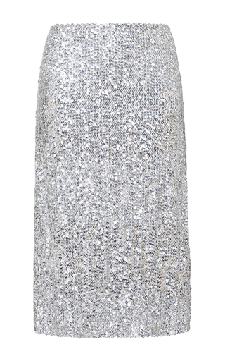 Silver silk blend jupe skirt by NINA RICCI Now Available on Moda Operandi