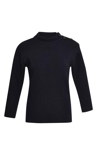 Black wool three quarter sleeved knit  by NINA RICCI Now Available on Moda Operandi