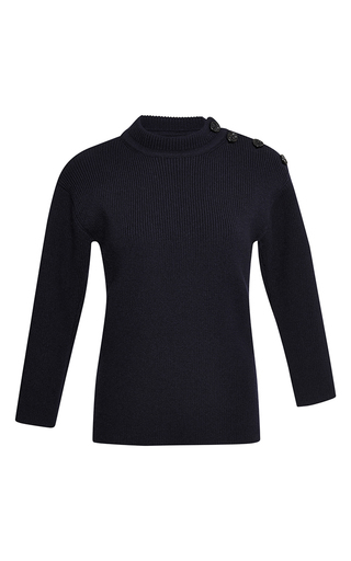 Black wool three quarter sleeved knit  by NINA RICCI Now Available on Moda Operandi