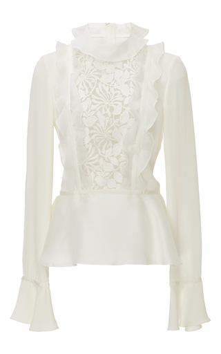 Silk Georgette Lace Paneled Blouse With Ruffled Sleeves by GIAMBATTISTA VALLI Now Available on Moda Operandi