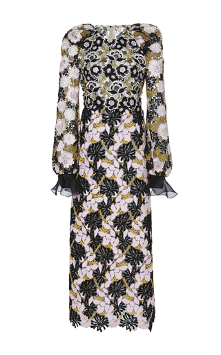 Silk Floral Macramé Embellished Dress by GIAMBATTISTA VALLI Now Available on Moda Operandi