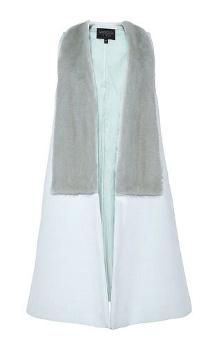 Aqua Paneled Mink Fur And Alpaca Wool Vest by GIAMBATTISTA VALLI Now Available on Moda Operandi