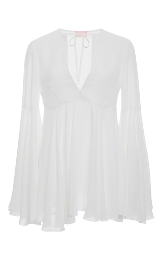 White v neck bell sleeve top by GIAMBA Now Available on Moda Operandi