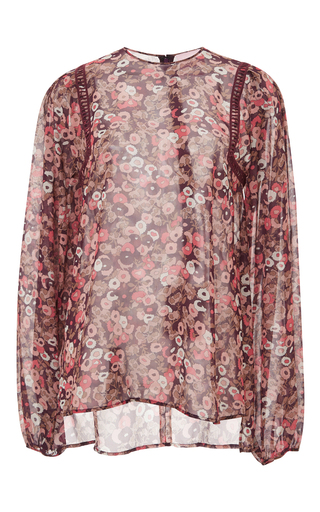 Floral printed silk georgette blouse by GIAMBA Now Available on Moda Operandi