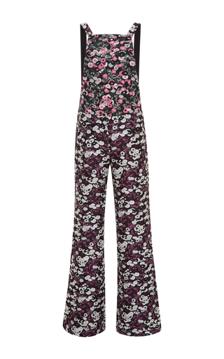 Floral printed flared bottom overalls by GIAMBA Now Available on Moda Operandi