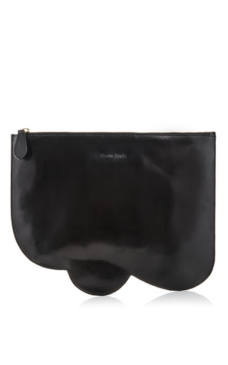 Black scalloped leather clutch by SIMONE ROCHA Now Available on Moda Operandi