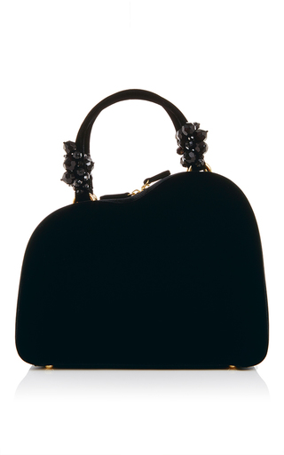 Embellished handle black velvet purse by SIMONE ROCHA Now Available on Moda Operandi