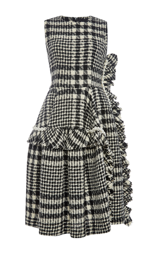 Wool tweed ruffle trimmed dress by SIMONE ROCHA Now Available on Moda Operandi