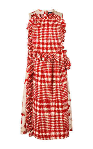 Red wool tweed and printed tulle dress by SIMONE ROCHA Now Available on Moda Operandi