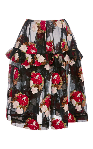 Tapestry floral ruffle trimmed skirt by SIMONE ROCHA Now Available on Moda Operandi
